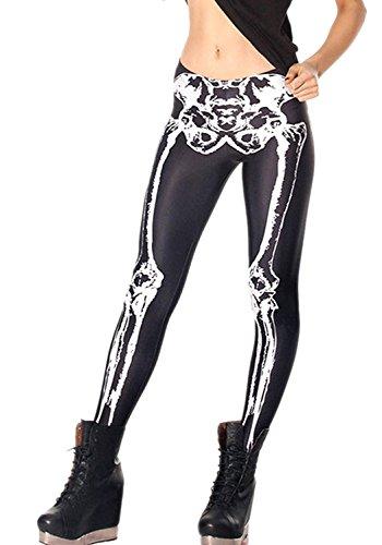Abyelike Women's Girls Fashion Digital Printed Leggings Full-Length Skeleton Bone Skull Tight Stretch Leggings Tights]()