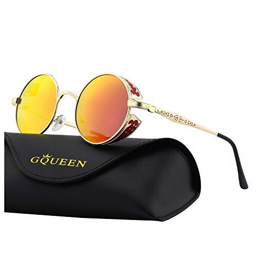 con redonda gafas UV400 polarizadas Metálico Steampunk MTS2 Retro protección GQUEEN sol para Rojo Dorado de hombres 2 y mujeres x4I7Rnw5