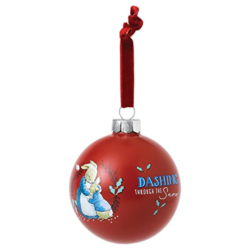 Beatrix Potter A29527 Mrs Rabbit and Peter Rabbit Merry Christmas Red Bauble