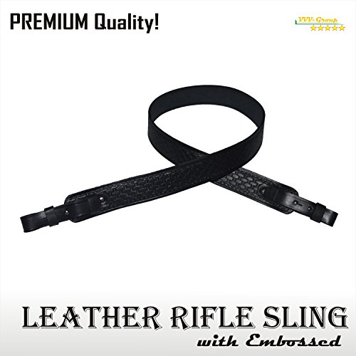VVV-Group TOTAL SALE! Leather Rifle Sling, Strap for Shotgun, Hunting – Noiseless - Natural Leather, BLACK – Premium Quality Guaranteed (Black Classic)