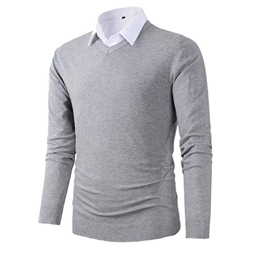 Benibos Mens Casual Slim Fit Basic Designed V-Neck Pullover Sweater (616 Light - V-neck Cotton Pullover