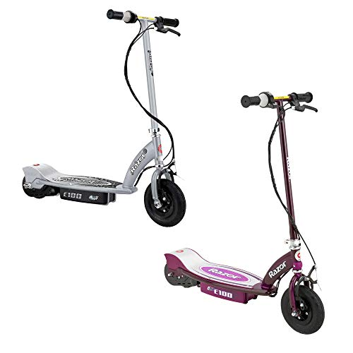 Price comparison product image Razor E100 Motorized Rechargeable Kids Electric Scooters,  1 Purple & 1 Silver