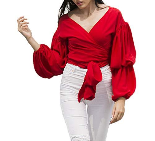 Primavera Autunno Donne Bluse Moda V Collo Maglie a Manica Lunga Tops T-Shirt Camicie con Bende Casual Cime Maglietta Shirts Tee Rot