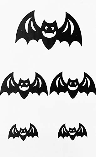 A&T Designs Pack of 5 Black Glitter Bats - Assorted Sizes Cardboard Cutout Decorations for Halloween Party