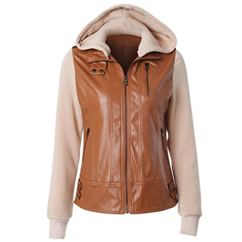 Top Gun Leather Jacket Costume (Women Coat Hot Sale New Fashion Girls Casual Hooded Leather Jacket Overcoat Lapel Removable Zip Tops Coat by Neartime (s, Brown))