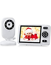 Video Baby Monitors with 3.5'' HD Screen, Baby Monitor with Camera and Audio, Infrared Night Vision, Two Way Talk, VOX Mode, Temperature Monitor, Long Battery Life, Lullaby