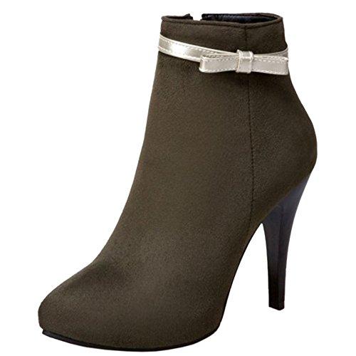 Moda Laterale Verde Scuro Con Taoffen Boots Short Cerniera Inverno Donna Stiletto Z7qwf1
