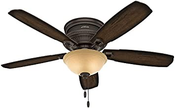 Hunter 53355 Traditional Ambrose Onyx Bengal Ceiling Fan With Light,  52u0026quot;