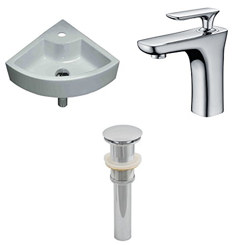 "picture of American Imaginations AI-15430 Unique Vessel Set with Single Hole CUPC Faucet and Drain, 19"" x 19"", White"