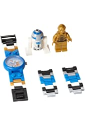 LEGO Kids Star Wars C-3PO and R2-D2 Plastic Watch with Link Bracelet and Coordinating Figurines 9001178