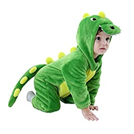 Baby Infant Dragon Costume, 2018 Autumn/Winter Baby Romper Jumpsuit Flannel Dinosaur Pattern Costume with Animal Hooded…