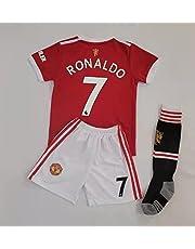 New 2021-2022 Kids Soccer Jersey # 7 Ronaldo Manchester United Home Red White Fan Jersey Top+Shorts+Socks Set