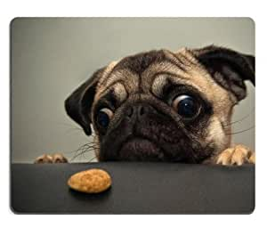 Eyes Animals Dogs Pugs Cookies Sad Mouse Pads Customized Made to Order Support Ready 9 7/8 Inch (250mm) X 7 7/8 Inch (200mm) X 1/16 Inch (2mm) High Quality Eco Friendly Cloth with Neoprene Rubber MSD Mouse Pad Desktop Mousepad Laptop Mousepads Comfortable Computer Mouse Mat Cute Gaming Mouse pad