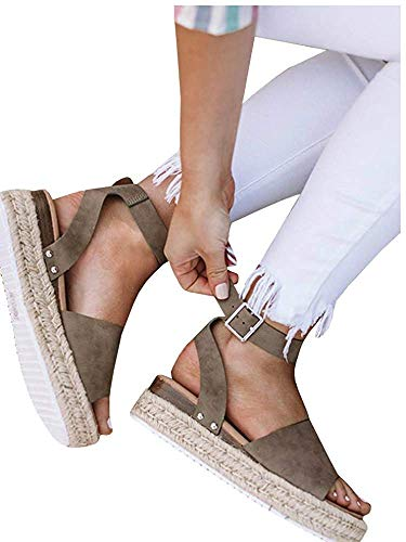 orm Espadrilles Ankle Strap Flatform Studded Open Toe Summer Wedge Sandals (10 M US, Coffee) ()