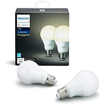 Philips Hue White A19 2-Pack 60W Equivalent Dimmable LED Smart Bulb (Compatible with Amazon Alexa, Apple HomeKit, and Google Assistant)