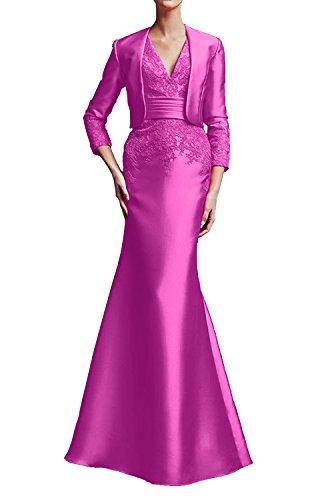Festliche Partykleider Kleider Pink La Abendkleider Langarm Elegant Lang Marie Wassermelon Braut Brautmutter nPqqwY8zH1