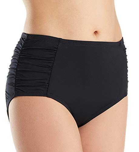 Jantzen Women's Solid Side Shirred High Waist Bikini Bottom, Black, 8
