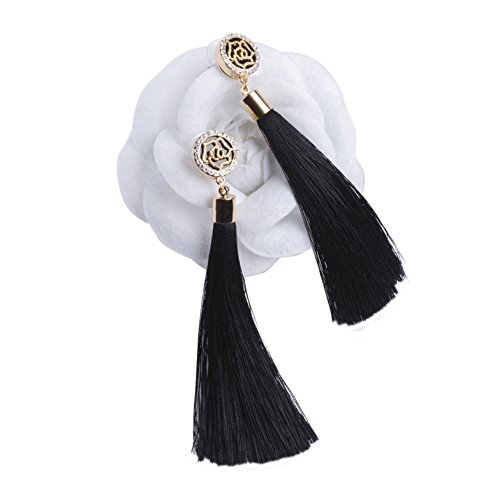MISASHA Rhinestone Black Pendant Rose Floral Fringe Earrings Studs