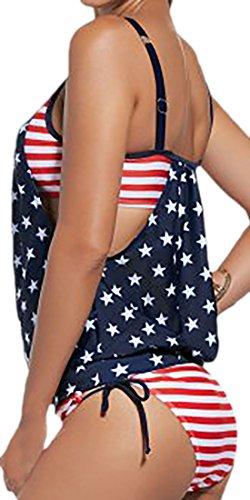 Vian Lundgaard - Damen Frauen Tankini Onepiece Badeanzug Amerika, XS-3XL, Mehrfarbig