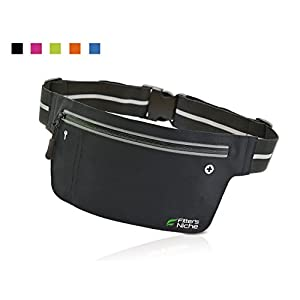 Fitter's Niche UltraSlim Fitness Sport Running Belt Fanny Pack, Water Resistant, 360 Degree 3M Reflective Adjustable Waistband, for Smartphone Android iPhone up to 6 inches, Infinite Black