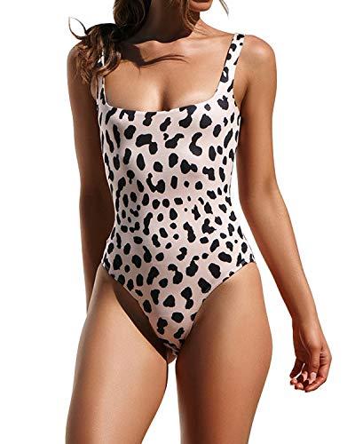 Lwaoien One Piece Monokini Bikini Swimsuit for Women High Cut Leopard Print Bathing Suits Backless Thong Swimwear Beachwear Leopard (M)