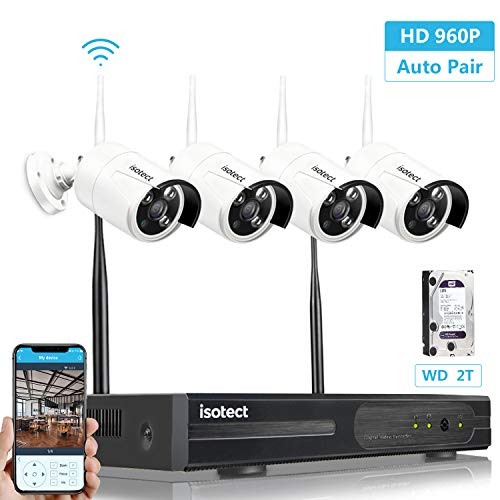 isotect Security Camera System Wireless, 4pcs 1080P Cameras WiFi NVR Kit (4pcs 960P Cams+8CH 960P NVR(2TB HDD Pre-Installed))