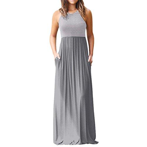JYC Sin Vestido A Falda Tanque Largo Rayas Encaje De Vestido Casual Mangas Boda Vestido Gris Largo Maxi Elegante Casual Larga Impresión Vestir Fiesta Camiseta Mujer Mujer Verano La xrwtUr
