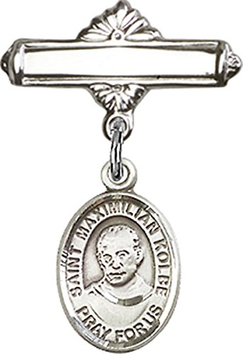 Sterling Silver Polished Baby Bar Pin with Saint Maximilian Kolbe Charm, 11/16 Inch