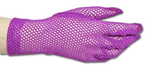 [Fancy Wrist Length Stretch Fishnet Gloves, Purple] (Purple Wrist Length Fishnet Gloves)