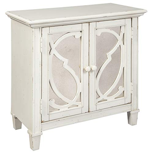(Ashley Furniture Signature Design - Mirimyn 2-Door Accent Cabinet - Scroll Pattern on Mirror Panel Doors - Antique White)