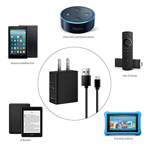 """TAPLE Kindle Fire Charger, [UL Listed] AC Adapter Rapid Charger with 5 Ft Micro-USB Cable Compatible Kindle Fire HD, HDX 6"""" 7"""" 8.9"""" 9.7"""", Fire 7 8 10 Tablet and Phone, Tab Power Supply Cord"""