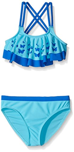 Angel Beach Big Girls' Swim Butterfly Chic Bikini Set, Blue, 12