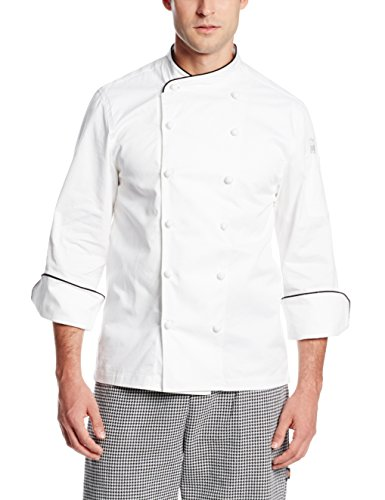 San Jamar J009 Luxury Cotton Corporate Chef Jacket with Black Piping and Hand Rolled Button Style, Small, White by San Jamar