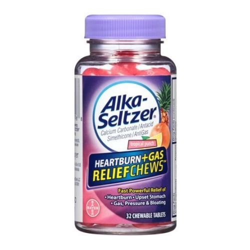 Alka Seltzer Heartburn Plus Gas Relief Chews Tropical Punch Antacid AntiGas Chewable Tablets - 32 per Pack - 24 Packs per ()