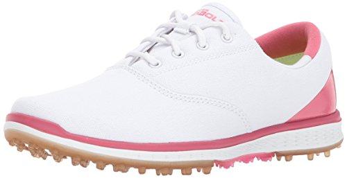 Skechers Performance Women's Go Golf Elite Canvas Golf Shoe,White/Pink,9.5 M US