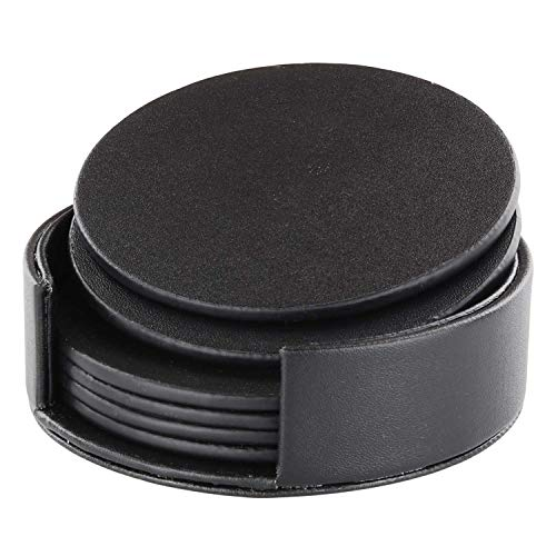 Leather Coasters with Holder Set of 6, Black Coasters for Drinks,Funny Housewarming Gift,Round Cup Mat Pad for Home and Kitchen (Round Black Coasters)