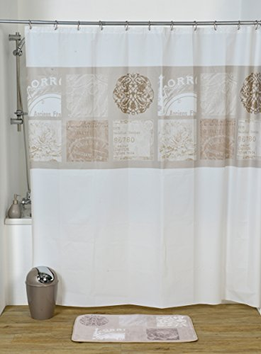 Round Eyelets Pastel - EVIDECO Paris Romance Bath Printed Peva Shower Curtain, Multicolored