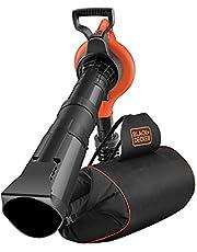 Black+Decker GW3031BP Elektrische bladzuiger/-blazer met hakselaar, inclusief opvangzak met een inhoud van 72 liter, bladbreker en draagriem; hoge blaassnelheid en zuigvermogen, 3000 watt