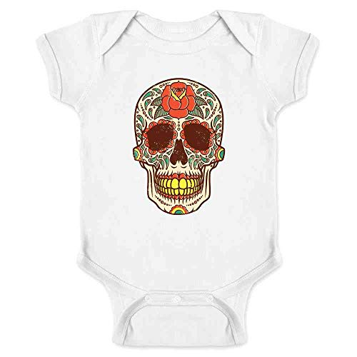 Rose Sugar Skull Halloween Costume Vintage Horror White 18M Infant Bodysuit -