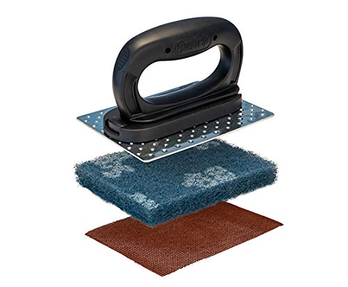 (Core Grip Black Griddle Accessories - Grill Cleaning and Griddle Scraper - Perfect for Flat top Grill or hibachi - Scotch Brite sponges Pads Included)