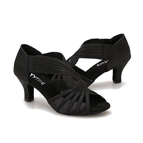 Ballroom Dance Shoes Women Latin Salsa Practice Dancer Shoes 2.5'' Heels YT02(8, Black) by YYTing