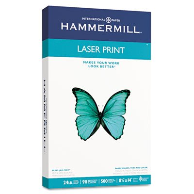 Laser Print Office Paper, 98 Brightness, 24lb, 8-1/2 x 14, White, 500 Sheets/RM, Total 10 RM, Sold as 1 Carton