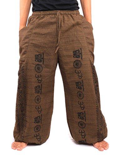 Jing Shop Harem Pants Boho Hippie Ethnic Pattern Print Cotton One Size Brown ()