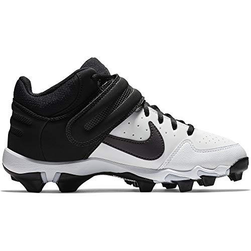huge selection of a4032 ea3c5 Nike Kids Alpha Huarache Varsity Keystone Mid GS Baseball Cleat White Thunder  Grey Black Size 2 M US