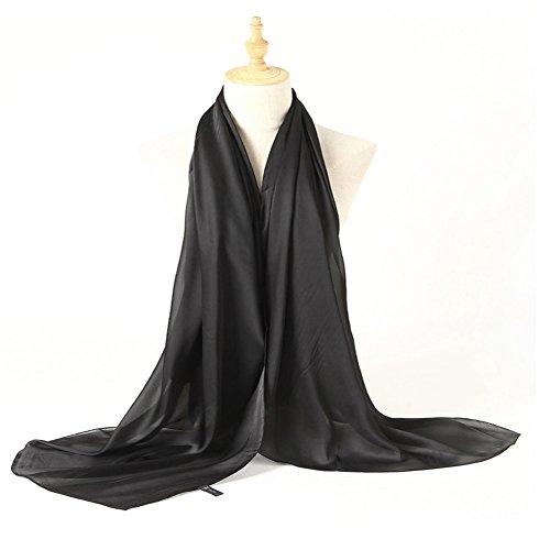 Bellonesc Silk Scarf 100% silk Long Lightweight Sunscreen Shawls for Women (black) by Bellonesc