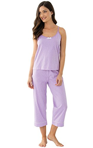 Dot Capri Pajama - PajamaGram Womens PJs Cotton Capris - Womens Pajamas Set, Lavender, L, 12-14