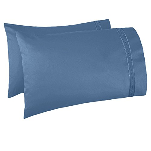 Nestl Bedding Soft Pillow Case Set of 2 - Double Brushed Microfiber Hypoallergenic Pillow Covers - 1800 Series Premium Bed Pillow Cases, King - Blue Heaven