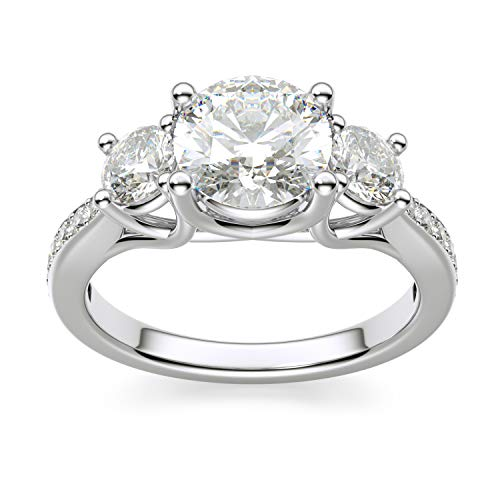 925 Sterling Silver 1.25 Ct Round White CZ 3 Stone Engagement Ring with Side Stones Size - Ring 3 Cz Engagement Stone