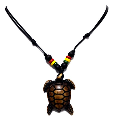 Slave 4 U Costumes (Rasta plaided hippie Brown Turtle Necklace Sea Turtle Necklace Hawaiian Turtle Necklace)