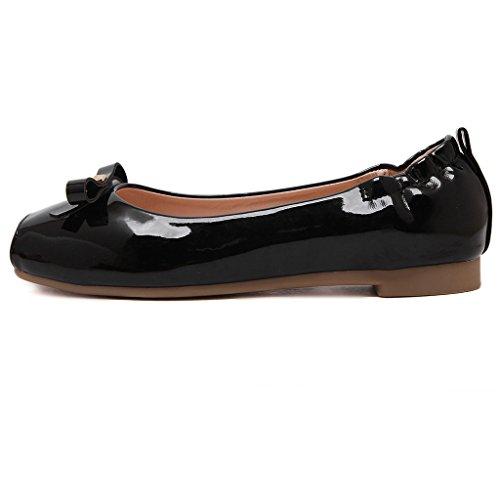 Binying Women's Bowknot Square Toe Flat Pumps Black deGra8